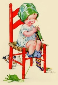 vintage_girl_knitting_in_red_chair_cards